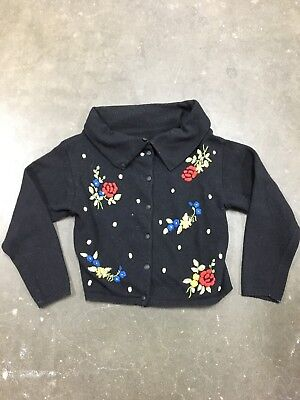 Vintage 1950's Wool Sweater Shawl Collar Embroidered Floral women's black