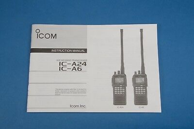 ICOM IC-A6 A24 Air Band Radio Handheld Aviation Transceiver Instruction Manual