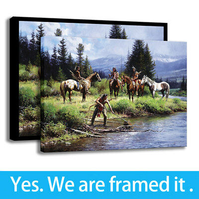 Canvas HD Print Art Oil Painting Decor Martin Grelle Indians At A Distance 12x16