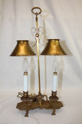 Rare Early Frederick Cooper Double Bouillotte Brass Candlestick Student Lamp