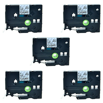 5 PK Black on Clear TZ TZe 121 Label Tape For Brother PT-1300 1400 1500 1500PC