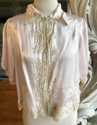 Vintage 1940s 1950s Lilac Pink Satin & Lace Bed Jacket
