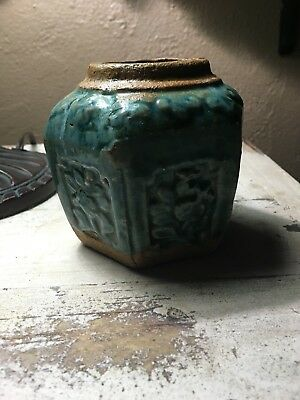 Antique 19th C Chinese Green Glazed Hexagonal Pottery Ginger Jar