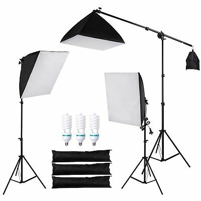 Photography Soft Box Continuous Lighting Kit Softbox Boom Arm Light Stand 3 Bulb