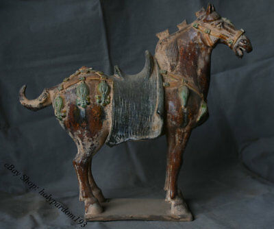 "16"" Chinese Old Antique Tang Sancai Porcelain Pottery Horse Horses Sculpture"
