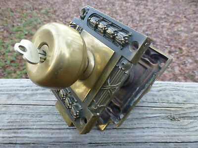 Antique Victorian Adjustable Door Lock Art Deco Brass Bronze Lockset 2 knobs Key