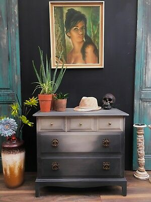 Chest Of 5 Drawers Painted Bow Fronted Wood French Grey Solid Mahogany