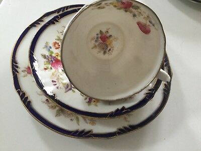 Pointons, bone china, royal blue and floral, beautiful, display only cup damaged