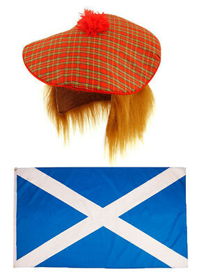 SCOTTISH FLAG & TARTAN HAT With Ginger Hair Burns Night Scotts Scotland sport