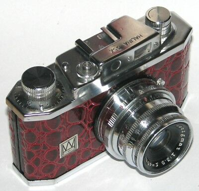 Vintage Halina 35X Camera And Case. Red Crocodile Skin Covered,