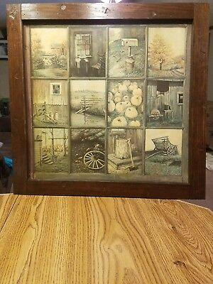 Vtg Home Interior Fall Harvest 12 Panel Rustic Window Pane Picture By B Mitchell