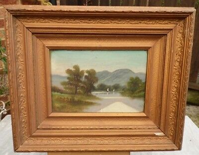 1900s Oil on Canvas in old Gesso Frame - Loch or Lake and Landscape - Unsigned