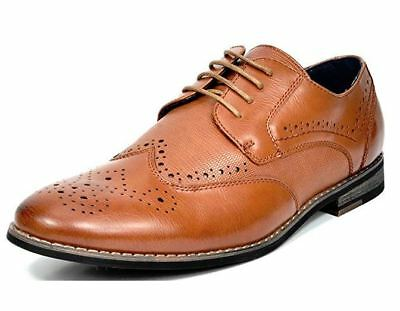 Mens Leather Italian Tan Wing-Tip Formal Brogue Oxford Office Wedding Shoes Size