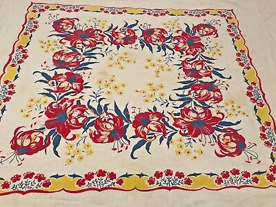 """Vintage Floral Table Cloth Red Blue Yellow Retro 40s Style Cotton 34""""x40"""" T2"""