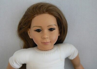 """My Twinn 23"""" early white body non poseable doll brown hair eyes overalls shirt"""