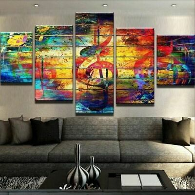 Home Decor Abstract Color Music Notes Canvas Print Painting Wall Art Poster 5PCS