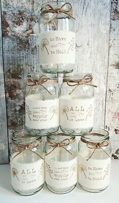 12 wedding jars glass centrepiece vase tealight rustic hand printed mixed design