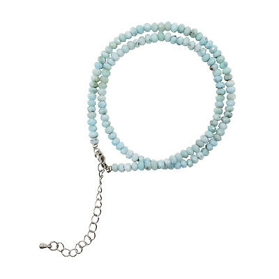 Natural Stone Blue Larimar Ruby Sapphire Turquoise Tiny beads Choker Necklace