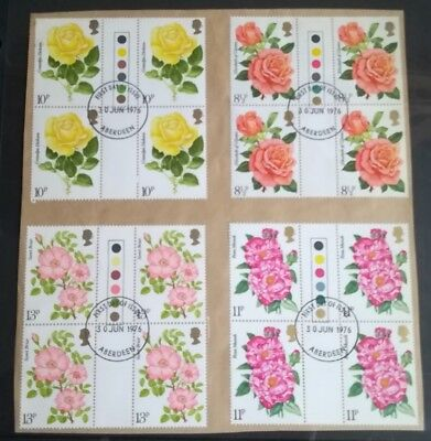 1976 Roses Fine Used in Blocks of 4 with FDC. on Paper as shown