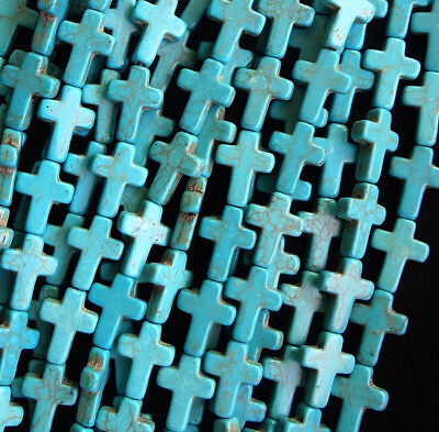 20/200pcs Mixed Color Howlite Turquoise Cross Loose Spacer Beads 16x12mm