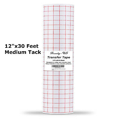 """Vinyl Transfer Paper Tape Roll 12"""" x 30 FT Clear w/Red Alignment Grid 