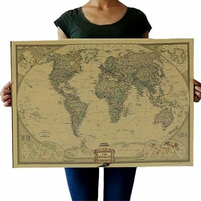 Large Vintage World Map Antique Poster Wall Chart Retro Paper Matte Map Of World