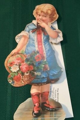 Vtg. Reproduction Victorian Girl Stand Up Greeting Card Winslow Papers 1978