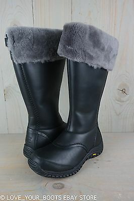 2042ec9a3ff UGG MIKO BLACK LEATHER FUR TRIM WATERPROOF KNEE HIGH WOMENS BOOTS US ...