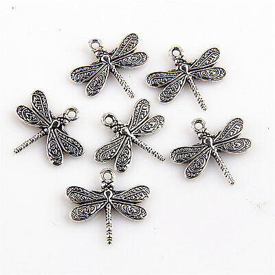 10/30/100Pcs Two sided Dragonfly Charms Pendants For DIY Making 20x21mm
