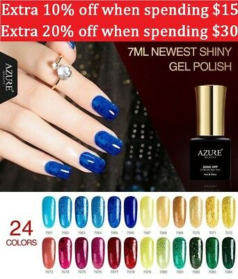 Azure Long-lasting Nail Gel Polish Glitter 24 Color Soak Off UV Nail Art Varnish
