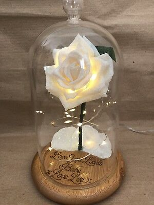 Beauty and the Beast Enchanted Rose *Wood Engraving* (White Glitter)