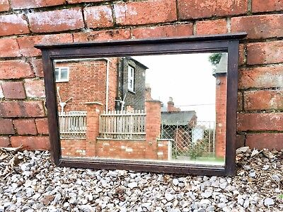Large Antique Arts and Crafts Oak Framed Mirror c. 1910, French Country Style