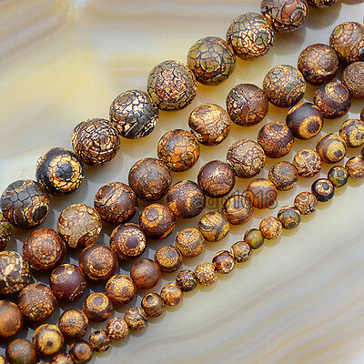 Frosted Matte Tibetan Mystical Old Agate Eye Round Beads6,8,10,12,14mm 15inches