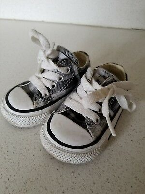 Converse All Star Chuck Taylor Toddler Baby Sneaker Shoes Black Plaid Size 2