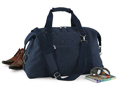 Mens Canvas Overnight Travel Bag Gents Weekend Hand Luggage Carry On Holdall