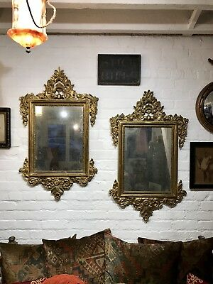 Pair Of Antique Late Georgian Rocco Style Glass Mirrors Carved Wood Gesso Gilt