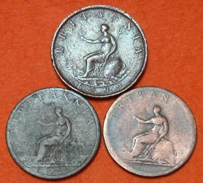 Three Early British Great Britian Coppers Half Penny 1799 1806 & 1807 George III