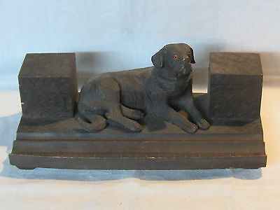 Vintage Black Forest hand carved dog inkwell pen rest St. Bernard Newfoundland?