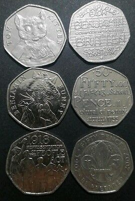 JOBLOT of 6* 50p Coins Fifty Pence Rare commemorative Circulated Various designs