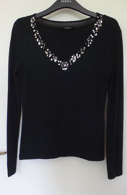 CAROLL T 40 Top Noir Manches Longues Argent Silver Deco Strass Tulle Goth  Dark 23d4f298ae7e