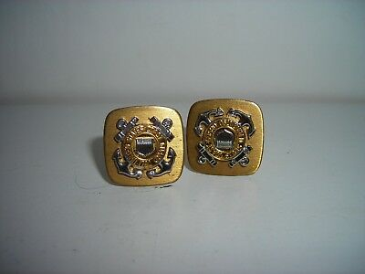 Vintage UNITED STATES COAST GUARD Gold/Silver Tone Cuff Links Pair