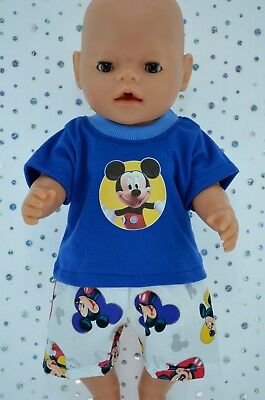 "Play n Wear Doll Clothes To Fit 17"" Baby Born PATTERN SHORTS~ROYAL BLUE T-SHIRT"