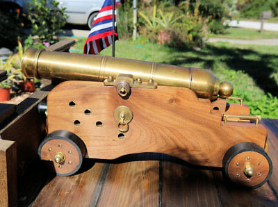 Awesome Brass Black Powder Cannon On Solid Wood Naval Style Carriage