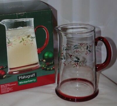 Pfaltzgraff Winterberry Glass Water Pitcher Large Christmas Holly Red Green