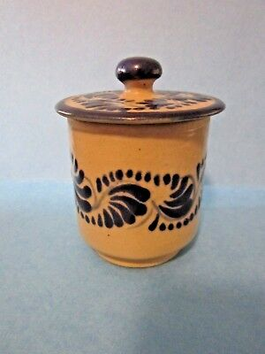 """Small  Mexican TALAVERA PUE 2 PC 4""""JAR WITH LID COBALT Blue Decoration  Mexico"""
