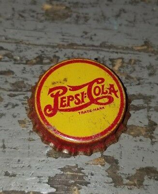 ViNtAgE Pepsi Cola Soda Bottle Cap Yellow and Red Late 1930's Cork Used
