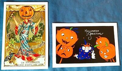 Set of 2 NEW Vintage Repro HALLOWEEN POSTCARDS Cards with Vintage Sleeves GIFT