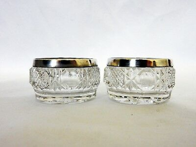 Antique Edwardian 1907 Pair of Sterling Silver Cut Glass Salt Dishes Cellars
