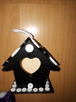 Mini Bird House Handmade black and white can do in any colours of choice.