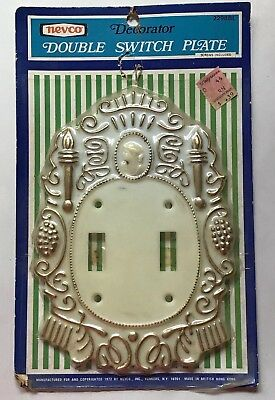 Vtg Double Light Switch Plate Cover New Ivory Gold Victorian Antique S9